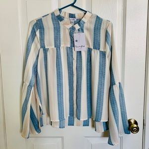 NWT love, fire Bell Sleeve Striped Blouse
